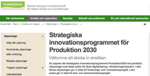 Nya utlysningar hos Produktion2030