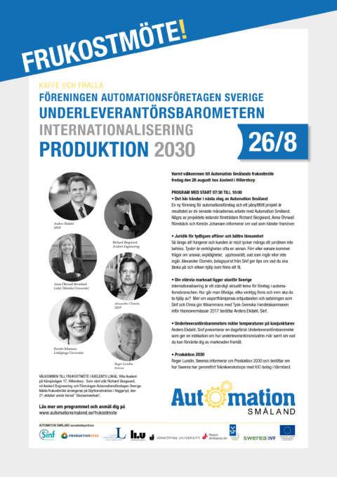 Frukostmöte med Automation Småland den 26 augusti